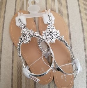 David's Bridal Metallic Silver Gem Sandals